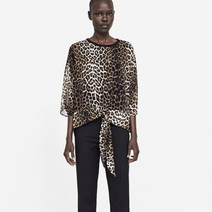 ZARA XL ANIMAL PRINT BLOUSE LEOPARD - 4886/044